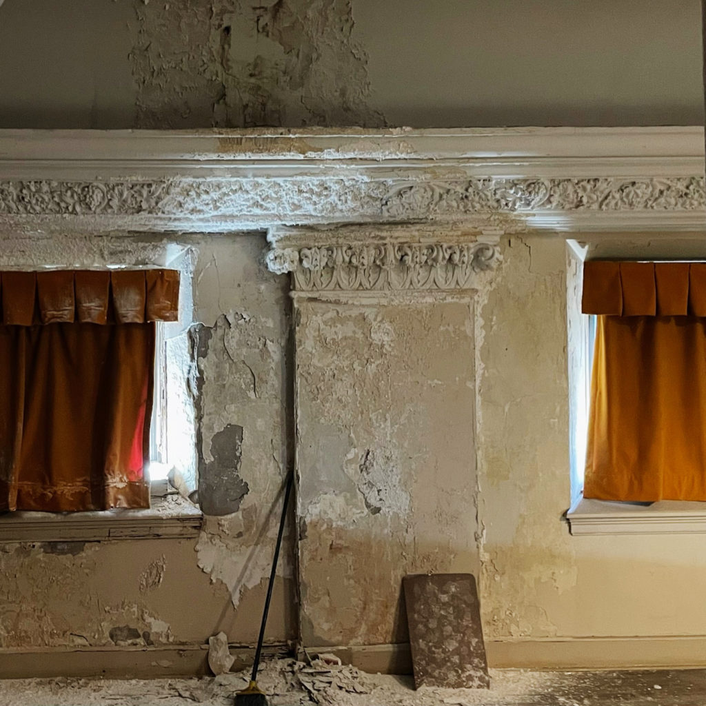 A crumbling wal in Furness High School's auditorium.