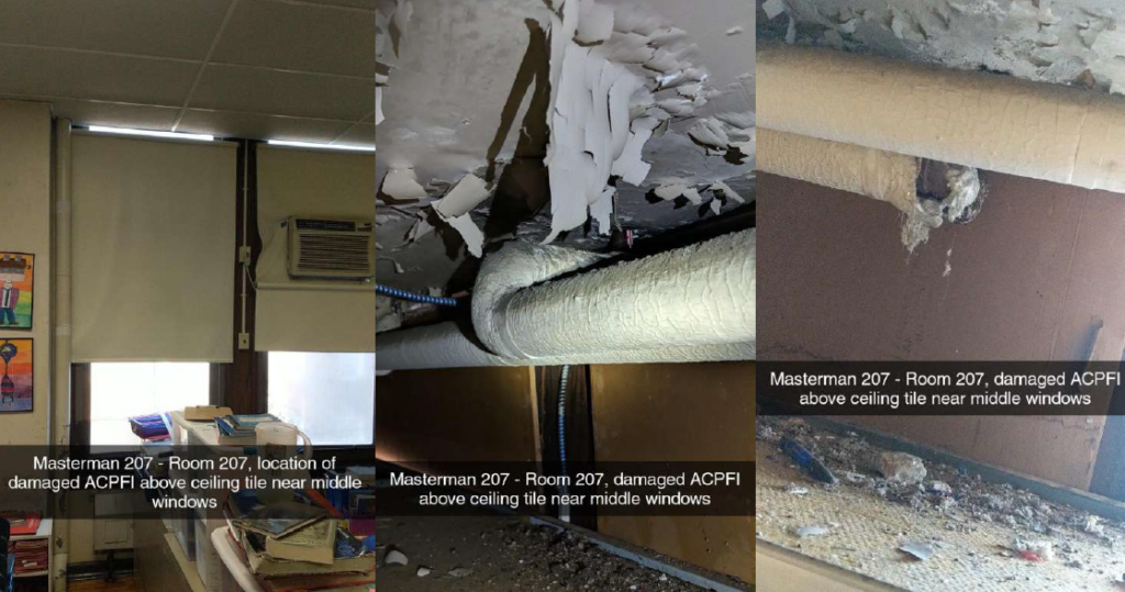 Image of damaged asbestos, peeling paint, rodent droppings and accumulated debris above dropped ceilings in a classroom.